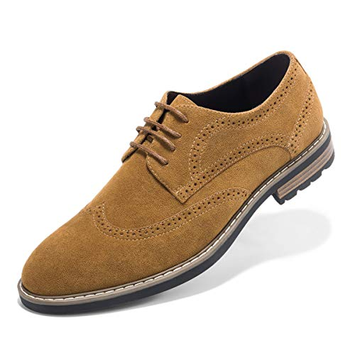 (Men's Suede Leather Oxford Shoes Casual Lace up Dress Shoes Camel 10)