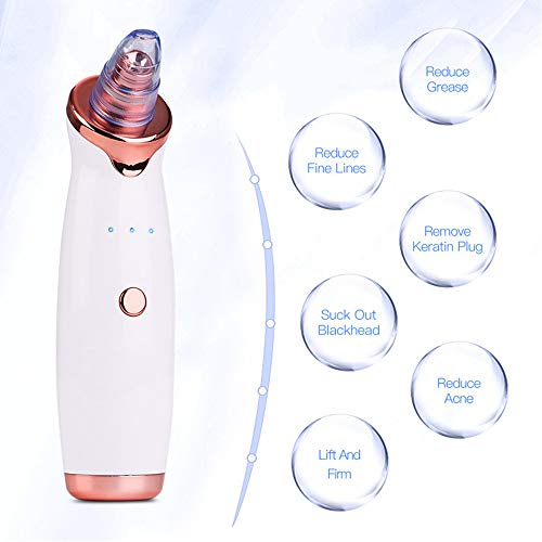 AQwzh Blackhead Remover Vacuum Electric Pore Vacuum Facial Pore Cleaner Acne Comedone Extractor kit 5 Removable Probes 5 Adjustable Suction Force for All Skin Treatment USB Rechargeable
