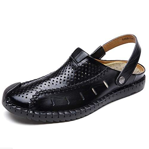 Sandal Slipper Resistenti Uomo Estate Suola Leggero Hole Black Chiusa Di Pelle Punta Scarpe Primavera All'abrasione Vacchetta TtTSrwpq