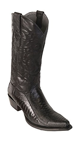(Men's Sinp Toe Black Genuine Leather Ostrich Leg Skin Western Boots - Exotic Skin Boots)