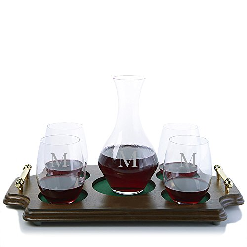 Personalized Riedel Crystal Cabernet Wine Decanter and 4 Riedel O Cabernet/Merlot Stemless Red Wine Glasses & Walnut Wood Serving & Presentation Tray with Handles Engraved & Monogrammed (Chianti Tray)