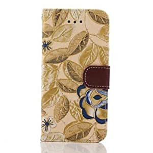 TOPQQ 5.5 Inch Fabric Pattern Wallet Leather Embroider Case for iPhone 6 Plus (Yellow)