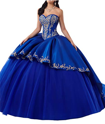 6a9aff7892cd Gold Embroideried Quinceanera Prom Dress for Women Girls Ball Gown Long  Sequins Royal Blue 0