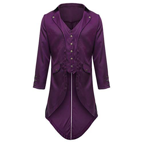 Mens Gothic Tailcoat Steampunk Victorian Long Sleeve Tuxedo Sport Suit Coats Medieval Jacket Pirate Costume (Medium, Purple)