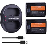 PowerTrust NP-FZ100 Battery 2 Pack FZ100 Replacement Batteries and Dual USB Charger for Sony FZ100, BC-QZ1, Sony Alpha 9, Sony A9, ILCE-9, ILCE-7RM3, A7R, Sony Alpha 9R, Sony A9R, Sony Alpha 9S Camera