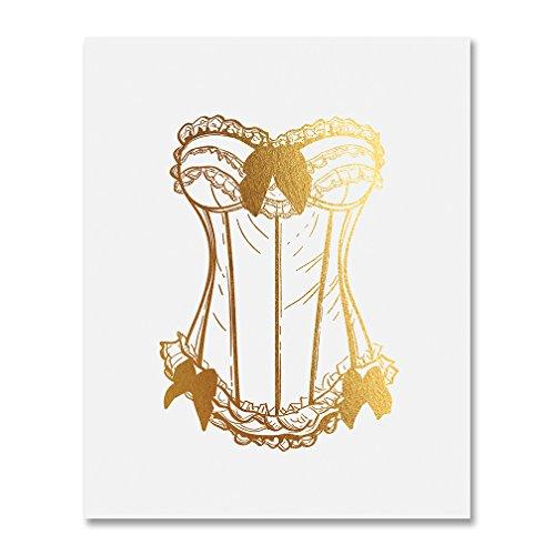 Vintage Corset Gold Foil Lingerie Shower Sign Boudoir Art Print Paris Fashion Poster Metallic Bachelorette Sign 8 inches x 10 inches (Boudoir Card)