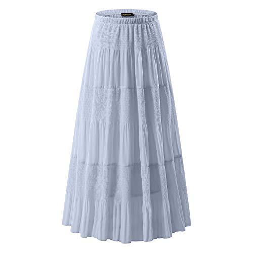 NASHALYLY Women Retro Vintage Double Layer Chiffon Pleat Maxi Long - Skirts(Light Gray, L)