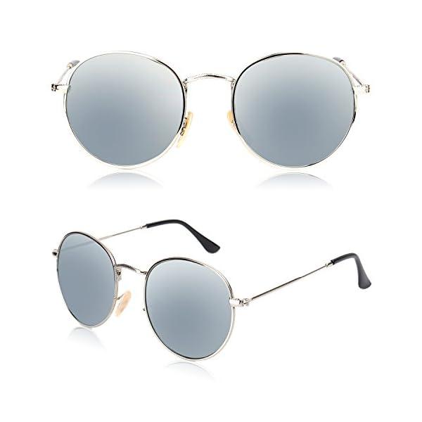 b58b5e8d3e SOJOS Small Round Polarized Sunglasses Mirrored Lens Unisex Glasses ...