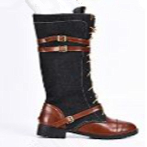 LnLyin Women's Unique Buckle Strap Round Toe Lace Inside Zip Up Knight Knee High Boots Chunky Low Heel Black 9Naz9PdRUc