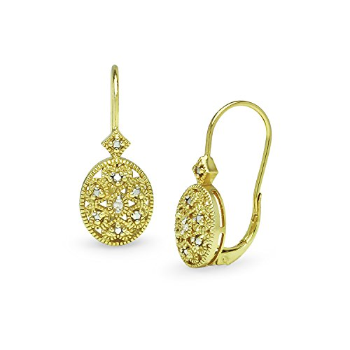Yellow Gold Flashed Sterling Silver Oval Filigree Diamond Accent Leverback Drop Earrings, IJ-I3
