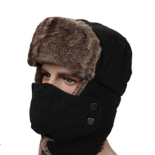 Leories Winter Trapper Trooper Hat Windproof Warm Camouflage Mask Ear Flaps Outdoor Sports Walking Skiing Hunting Hat Black Winter Camo Cap Hat