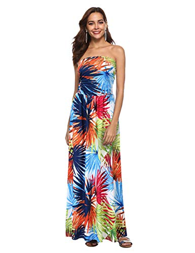 (GloryStar Women Strapless Maxi Boho Vintage Summer Beach Floral Print Hawaiian Party Long Dress (S, Flower3))