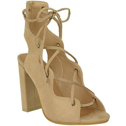 Donna Con Lacci Gabbia A Blocco Tacchi Alti Sandali Con Cinturino Scarpe  Caviglia Misura - Pelle