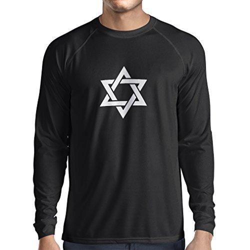 lepni.me Men's T-Shirt Star of David - Shield of Magen David - Jewish Symbol (Medium Black White) - Glitter Stars Black Shield