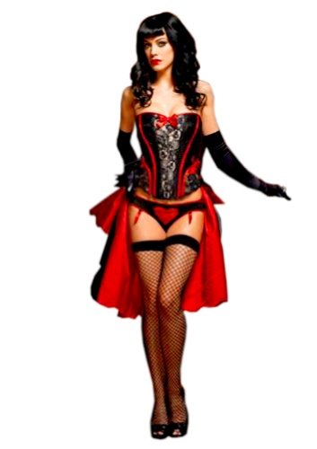 Leg Avenue Electrifying PVC and Lace Raven Corset (BLACK/RED, Size: M (Leg Avenue Lace Corset)