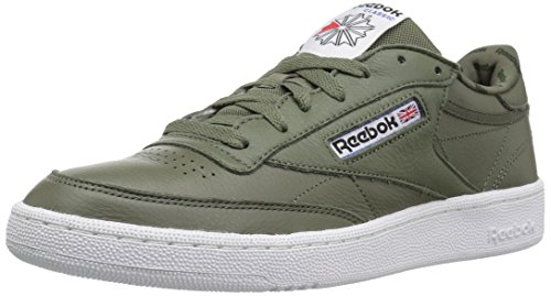 Reebok Mens Club C 85 Fashion Sneaker Hunter Green / Primal Red / Black / White / Vital Blu