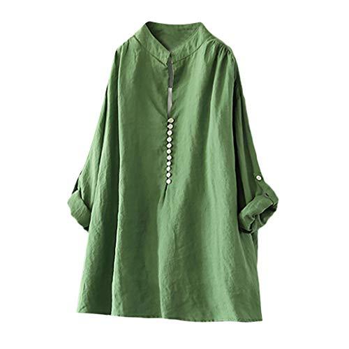 Sumen Women T Shirt Casual Loose Crew Neck Cotton Tee Tops Blouse Green