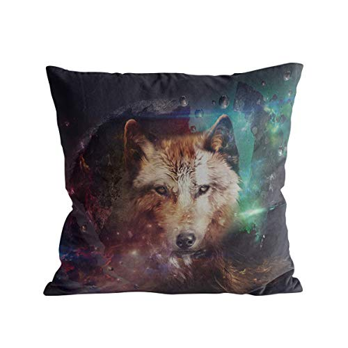 Caffling Velvet Soft Decorative Square Throw Pillow Covers Euro Shams Cushion Cases Pillowcases for Sofa Couch Chair Bedroom Car Back Seat, Mystic Universe Wolf, 26
