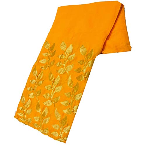 shagun sarees Yellow Banarasi Weaving Pure Goergette Sarees for womem