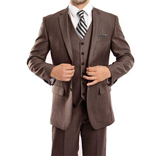 ne 3 Piece 2 Button Classic Fit Suit New with Matching Vest(52L/46Waist Regular) ()