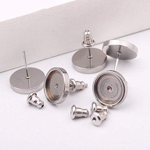 (SHUNAE 20pcs 10mm Stainless Steel cabochon Earring Stud Base Settings Metal Blank DIY Earring Posts with Back)