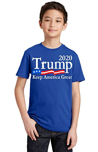 (Promotion & Beyond Trump 2020 Keep America Great USA Flag Youth T-Shirt, Youth XL, Royal)