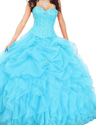 ASBridal Sweetheart Ruched Beading Bodice Ball Gown Quinceanera Prom Dresses Sky Blue US (Ruched Bodice Gown)