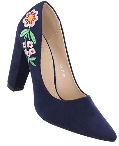 Damen Schuhe Pumps High Heels Blau