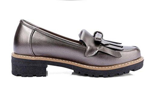 SHFANG Señora Zapatos Primavera Otoño Redonda Cabeza Fringed Nudo de la mariposa Colmillo y Universidad Viento Compras Diaria Estudiantes Chica Tres Colores 4cm GUNCOLOR