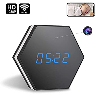 Spy Hidden Camera Clock-ENKLOV HD 1080P WiFi Smart Mirror Clock with Remote View Night Vision Two-Way Intercom Motion Detection Colorful LED Light,for Wall and Desk
