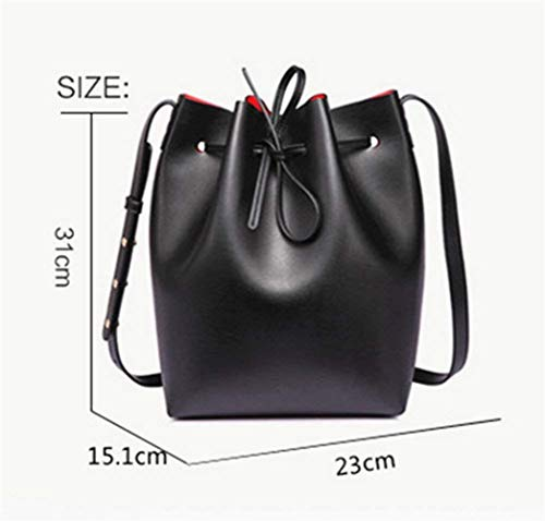 Fille à Tote Red Souple Sacoche L pour Sac Seau à Cuir Lady Moontang Main Large Cuir Women Cluthes bandoulière Sac L White épaule PW8ZgH