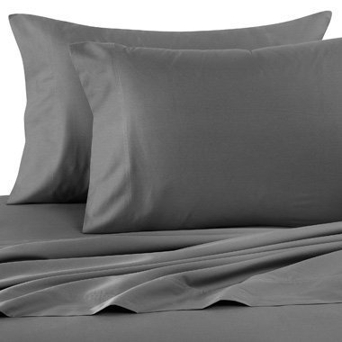 Ras Decor Linen Egyptian Cotton 300-Thread-Count 4 PCs Home Bedding Sheet Set (1 Fitted Sheet+ 15 Inch Drop,1 Flat Sheet & 2 Pillow Case) Dark Grey Solid Queen-XL Size