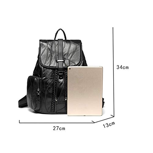 Mouton Main Leather à vol Noir Dos Bag Sac Dos Sac À en Anti Peau Noir Sac De Lady Couleur Noir À awvYYxAq