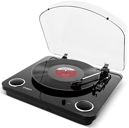 Ion Audio Max Lp   3 Speed Belt Drive Turntable With Built In Speakers   1 8  Aux Input  Glossy Piano Black