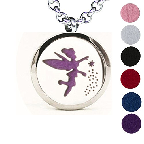 Aromatherapy Essential Oil Diffuser Necklace Flower Wing Fairy Pattern Stainless Steel Locket (Peace Pendant Necklace)