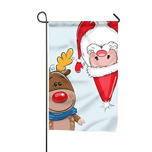 yyoungsell Christmas Deer and Santa Seasonal Lawn Yard House Garden Flags 12 X 18 All-Weather Polyester -