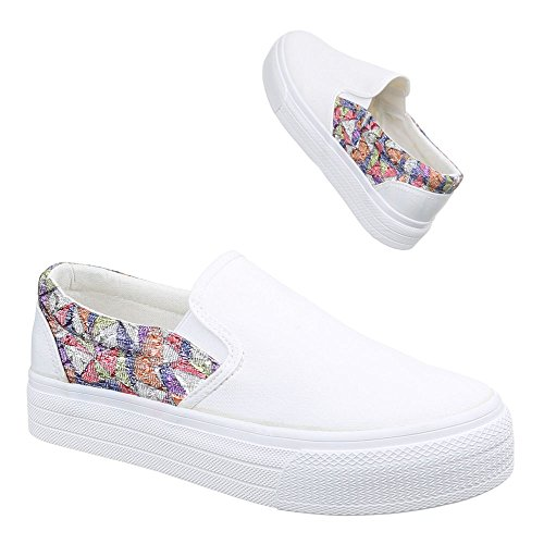 Ital-Design Damen Schuhe, 51135-Y, Halbschuhe Slipper Weiß Multi