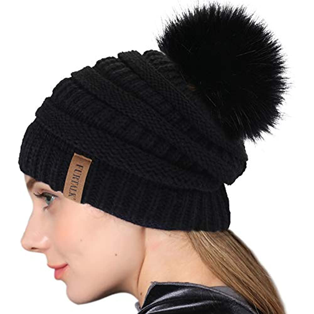 67193d69da6 Winter Real Fur Pom Beanie Hat Warm Oversized Chunky Cable Knit Slouch  Beanie Hats for Women at Womens Clothing store