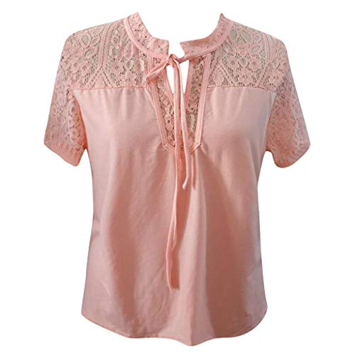 TIFENNY Casual Shirts for Women Summer Short Sleeve Sexy Sheer Mesh Lace Patchwork Bow Neck Blouse Tops Tee Pink