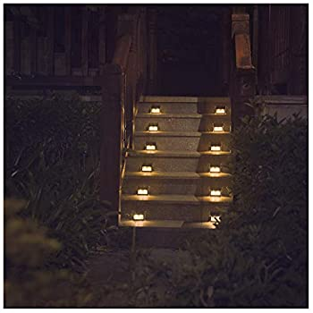 [Warm Light] Solar Lights for Steps Decks Pathway Yard Stairs Fences, LED lamp, Outdoor Waterproof, 6 Pack