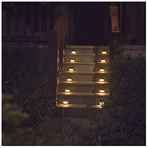 - [Warm Light] Solar Lights for Steps Decks Pathway Yard Stairs Fences, LED lamp, Outdoor Waterproof, 6 Pack