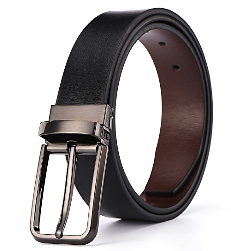 Xhtang Mens Belt Leather Strap with Removable Buckle 33mm Wide S (Reversable Leather)