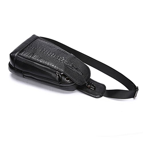 Crocodile Men Grain Chest Bag Shoulder Geunine Pack Sling Messenger Black Leather EEnqwprUx1