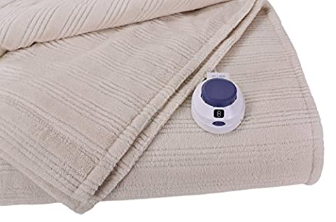 Soft Heat Ultra Micro-Plush Low-Voltage Electric Heated Triple-Rib Twin Size Blanket, Natural - Plaid Electric Blanket