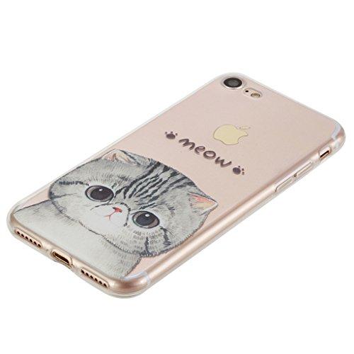 iPhone 7 Cover , YIGA Moda Trasparente Gatto Silicone Morbido TPU Case Custodia per Apple iPhone 7 4.7