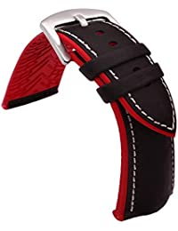 TIME4BEST Strap 19mm 20mm 21mm 22mm 23mm 24mm Watch Band Sports Leather Silicone Hybrid Smart Watch Strap for Men Women Sweatproof Watchband (21mm, Black Leather+White Stitching+Red Rubber Pad)