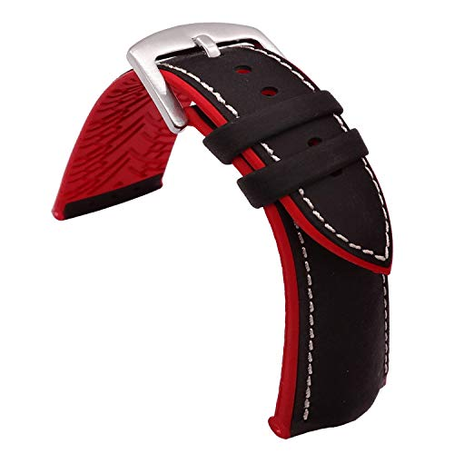 TIME4BEST Leather Watch Band Strap with Rubber Pads 19mm 20mm 21mm 22mm 23mm 24mm (22mm, Black Leather+White Stitching+Red Rubber Pad) ()
