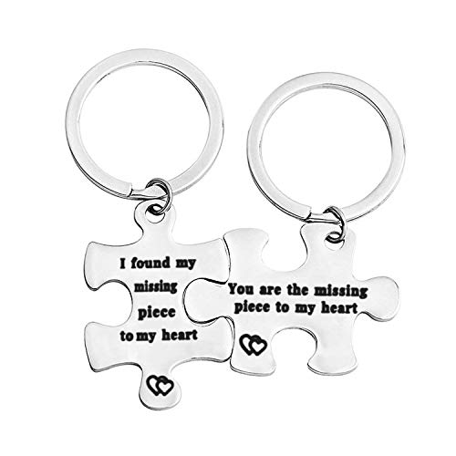 WUSUANED Puzzle Piece Keychain You are The Missing Piece to My Heart I Found My Missing Piece to My Heart Puzzle Jewelry Gift for Couple Best Friend (You are The Missing Puzzle Keychain) (Heart Puzzle Piece Keychain)