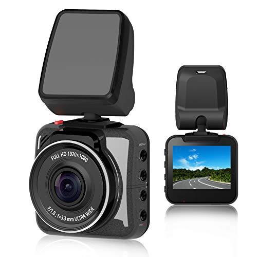 OSBOO Car Dash Cam, Mini Dashboard Camera, 2 Screen FHD 1080P Driving Recorder, Novatek Chipset, Sony Sensor, F1.8 Super Big Aperture, 140 Degree Wide Angle, Night Vision, G-Sensor, Loop Recording