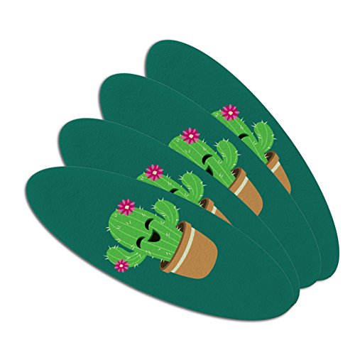 Cute Cactus in Pot with Pink Flowers Double-Sided Oval Nail